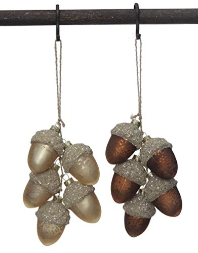 Creative Co-Op Mercury Glass Acorn Cluster Ornaments Set of 2, 6″ Long