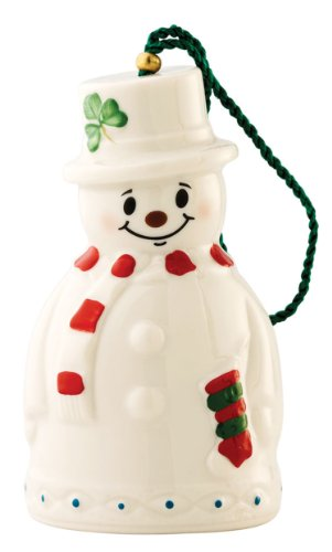 Belleek Snowman with Stocking Bell Ornament, 4″