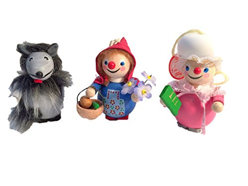 Little Red Riding Hood , Grandma & Big Bad Wolf Steinbach Ornaments