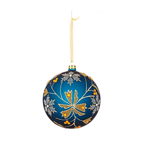 Sage & Co. XAO19410BL Glass Pattern Ball Ornament (4 Pack)