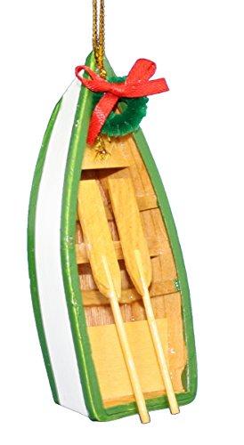 Kurt Adler Wooden Boat with Oars Ornament