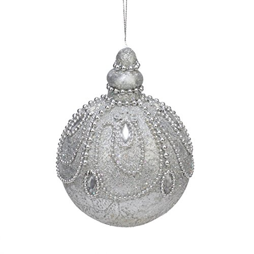 5.5″ Silver Splendor Jewel and Bead Encrusted Glitter Ball Christmas Ornament