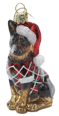 German Shepherd Noble Gems Glass Christmas Ornament