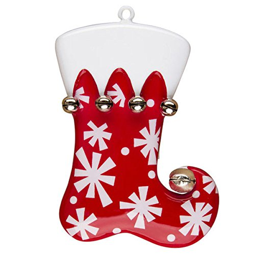 Christmas Stocking Red Snowflakes Personalized Ornament