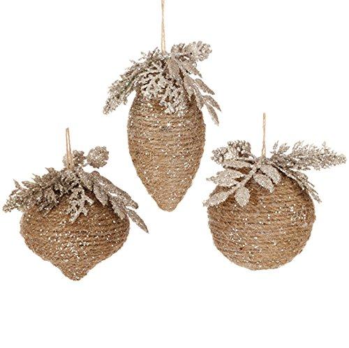 Raz Imports 3″ Glittered Ornaments (Set of Three)