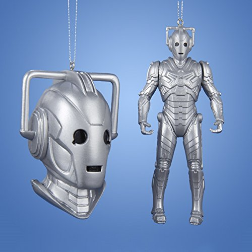 4.5″ Doctor Who Metallic Silver and Black Cyberman Full Figure Christmas Ornament