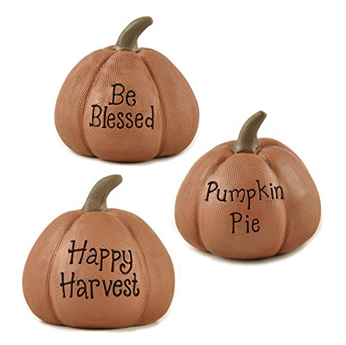 Blessed Harvest Pumpkin Pie 2 x 3 inch Resin Stone Figurines Set of 3