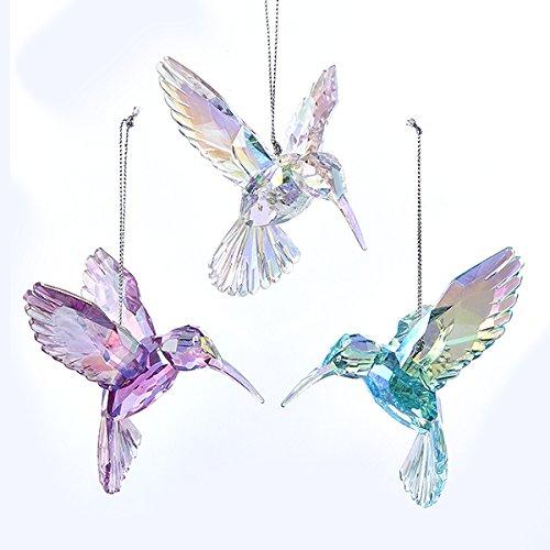 Kurt Adler 3 Assorted Acrylic Iridescent Purple, Blue And Clear Hummingbird Christmas Ornaments