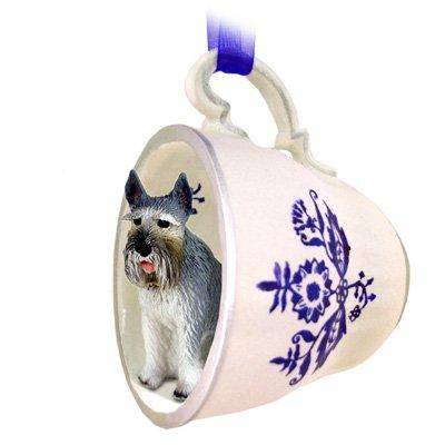 Schnauzer Giant Gray Tea Cup Blue Ornament