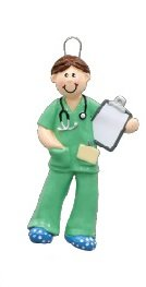 Male Physician in Green Scrubs with Clipboard Christmas Ornament Nurse Doctor