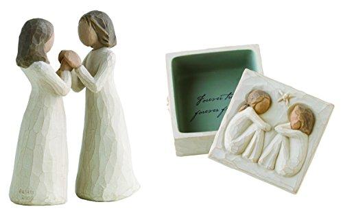 Demdaco Willow Tree Figurines by Susan Lordi: Sisters By Heart Figurine with Friendship Keepsake Box