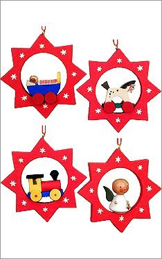 "10-0197 – Christian Ulbricht Ornament – Assorted Stars with toys – set 6 – 2.5″""H x 2.5″""W x .5″""D"