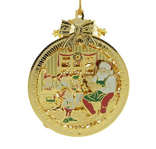 New 24KT Gold Finished 3D Santa's Workshop and Elves Christmas Ornament