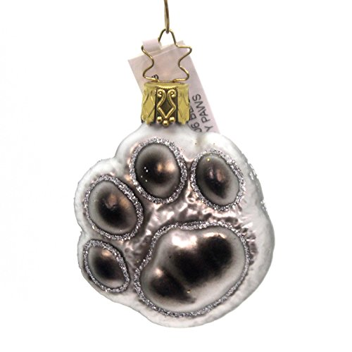 Inge Glas Black Silver Kitty Cat Paw Print Glass German Christmas Ornament