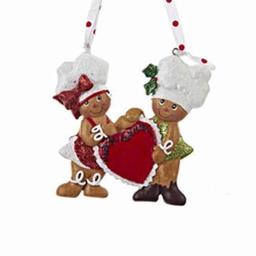 Kurt Adler 4″ Resin Gingerbread Couple with Heart Ornament #H5020