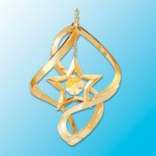 24K Gold Star Spiral Ornament – Yellow Swarovski Crystal