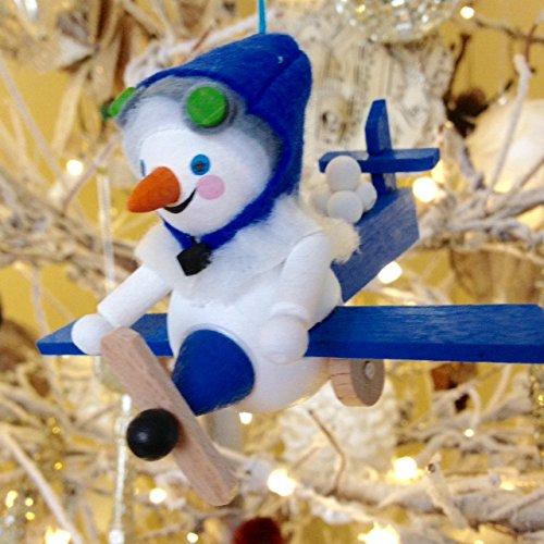 Steinbach Aviator Snowman Wood German Christmas Ornament