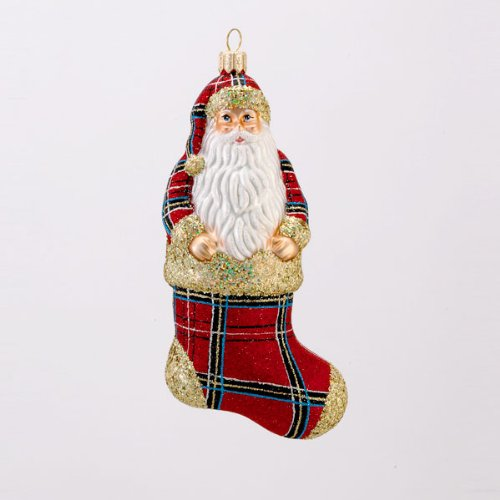 David Strand Glass Cozy Claus Stewart Plaid Santa Christmas Stocking Ornament