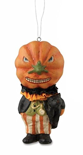 Bethany Lowe Halloween Jack-O-Lantern Ghoul Man Party Attire Ornament, 4″ Tall