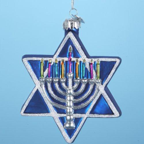 4.5″ Noble Gems Glass Jewish Star of David Hanukkah Ornament