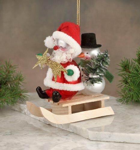 De Carlini Santa and Snowman on Sled Italian Mouthblown Glass Christmas Ornament