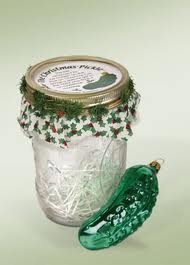 Glass Pickle Ornaments in Jars by Byers' Choice