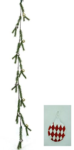 6 ft Pine Garland with Large Jingle Bells in Clear Gift Box PLUS Free $6.95 tin Christmas Ornament!