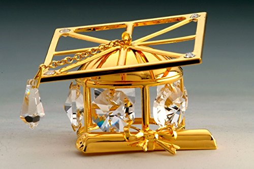 Graduation Hat Swarovski Crystal 24k Gold Ornament
