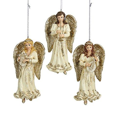 Kurt Adler 5.25″ Resin Platinum Angel Ornament 3/asstd