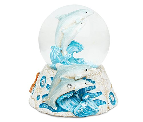 Puzzled Dolphin Resin Stone Finish Snow Globe – Sea Life Collection – 65 MM – Unique Elegant Gift and Souvenir – Item #9361
