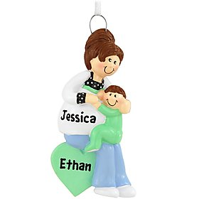 Mommy's Two Loves – Pregnant Mom with Sibling Ornament