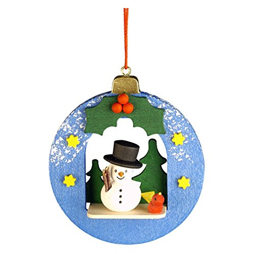 "10-0451 – Christian Ulbricht Ornament – Snowman in Xmas Ball – 3″""H x 2.75″""W x 1″""D"