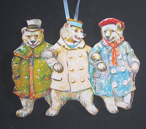 Three Jolly Polar Bears Handcrafted Wooden Ornament, Decoration, Gift, Holiday, Dressed Bears, Top Hat, Mufflers