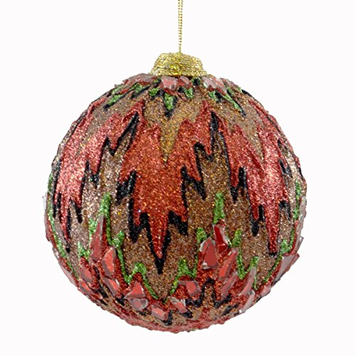 Holiday Ornament FLAME STITCH Plastic & Glitter Christmas Jim Marvin B02450674