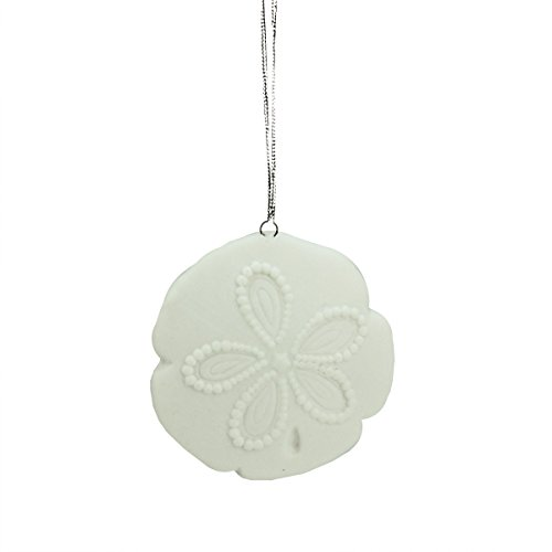 2.5″ Under the Sea White Sand Dollar Shell Ceramic Christmas Ornament
