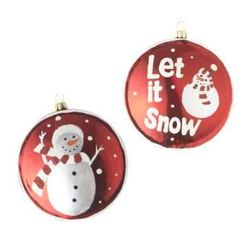 RAZ Imports – Red and White Let it Snow Glass Disc Ornaments 4″