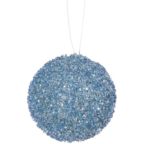 6ct Baby Blue Sequin and Glitter Drenched Christmas Ball Ornaments 3″ (75mm)