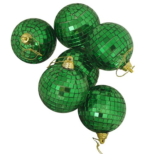 Pack of 6 Green Mirrored Glass Disco Ball Christmas Ornaments 2.75″ (70mm)