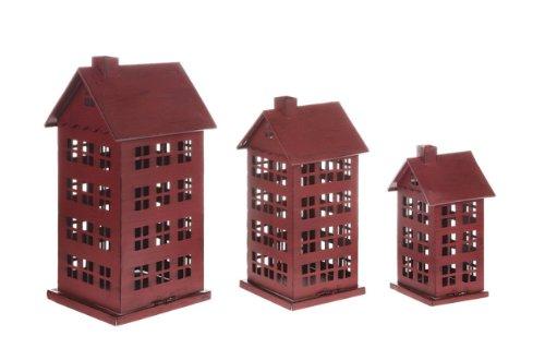HomeSpun Christmas Red Metal House Set Creative Co-op