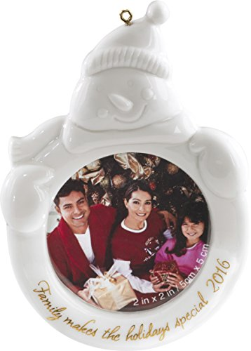 Carlton Ornament 2016 Family – Porcelain Snowman Photo Holder – #CXOR051K