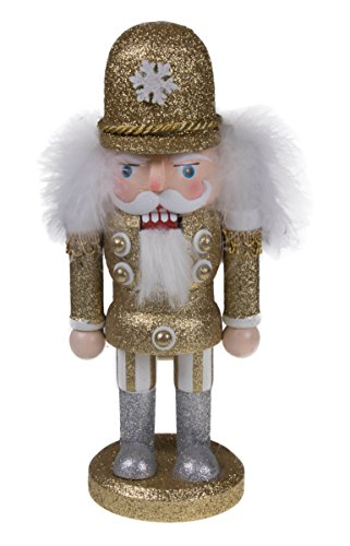 Christmas Wooden Chubby Gold and White Nutcracker – 10″ Tall