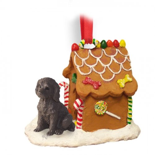 Chocolate LABRADOODLE Dog Ginger Bread House Ornament by Conversation Concepts