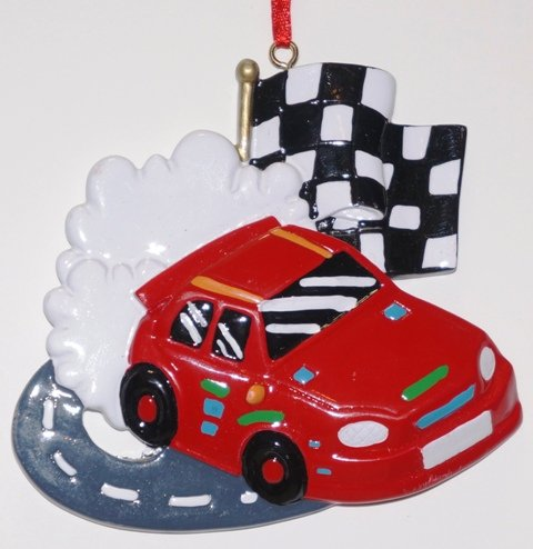 Racecar Checkered Flag Ornament