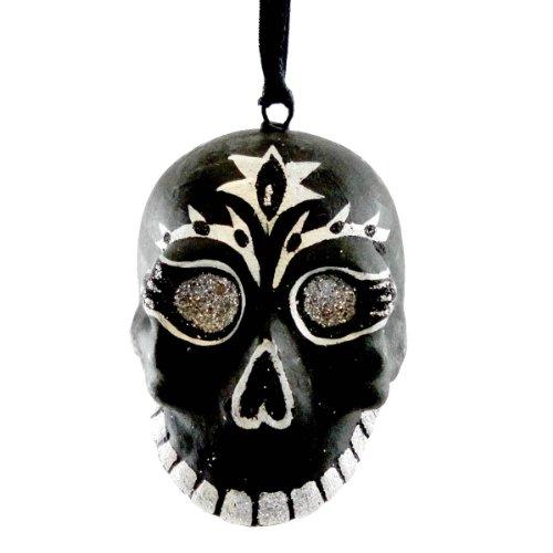 Holiday Ornament SKULL ORNAMENT Resin Halloween TA0060 BLACK