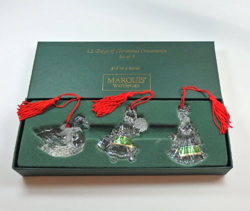 Marquis by Waterford Twelve 12 Days of Christmas Set of 3 Crystal Ornaments 3rd in Series 109005