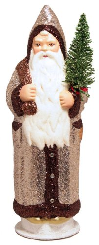 Ino Schaller Gold Glitter Santa with Green Glitter Tree German Paper Mache