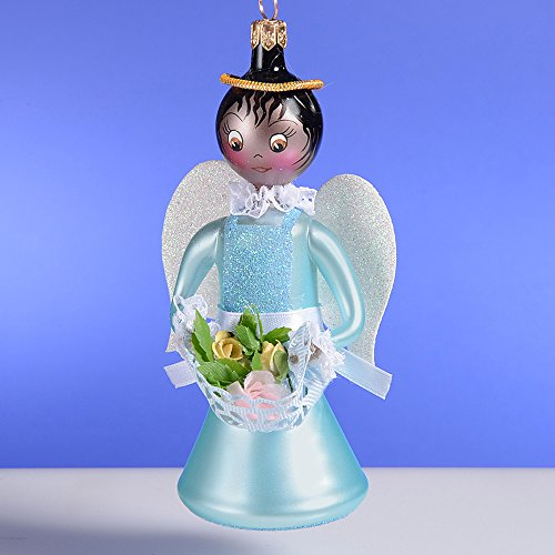 De Carlini Angel in Blue Dress and Flowers Italian Mouthblown Glass Christmas Ornament