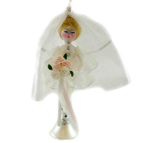 De Carlini BRIDE WITH BOUQUET WHITE Blown Glass Wedding Italian Ornament DO7052