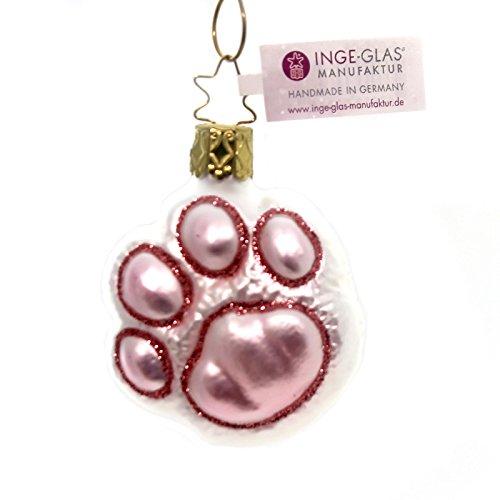 Inge Glas Gray Kitty Cat Paw Print Mouth Blown Glass German Christmas Ornament