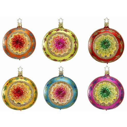 "Christmas Ornament Reflector Set of 6 ""Christmas Dazzle"" by Inge-Glas of Germany 101713"